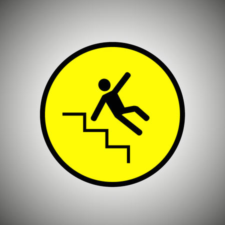 wet floor sign: Slippery stairs sign . Falling man on stairs vector