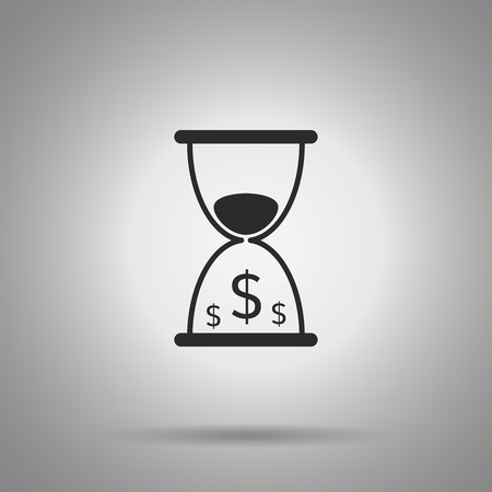 time is money icon. hourglass and dollar symbols Illustration