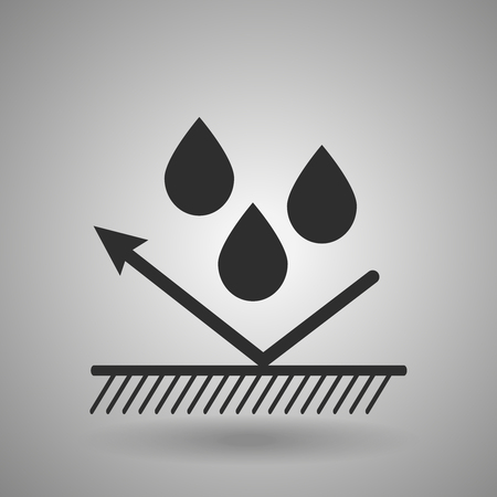 impermeable: hydrophobic material icon . Droplets and arrow sign