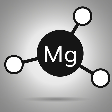 atomic symbol: magnesium icon . Mg molecule with round attoms