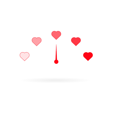 Love meter in speedometer style with hearts and arrow Illustration