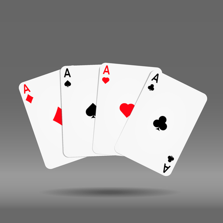 Poker hand of cards diamond spade heart and club  ace.