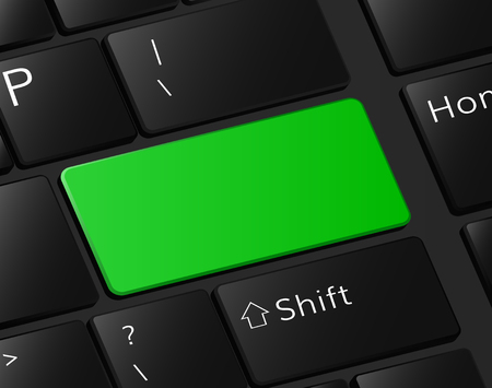 Green button on keyboard macro illustration empty blank. Illustration