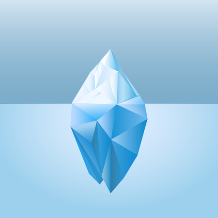 Low poly style iceberg for infographic metaphor business iceberg northern on water sea illustration.