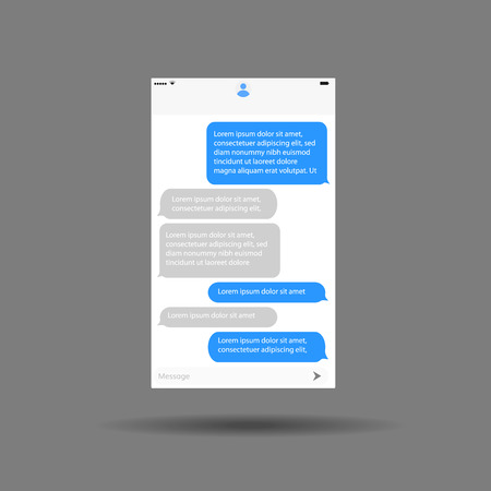 speech buble: messaging interface mobile application chat design vector