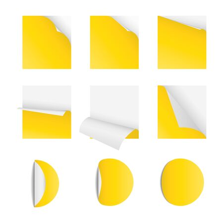 Curved corner paper set yellow  Sticky papers with page curls Round and square stickers