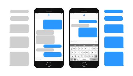 Tekstberichten op het smartphonescherm Lege tekstballonnen instellen Dialoogvenster Berichten Berichteninterface met qwerty-toetsenbord en realistische, moderne mobiele telefoon