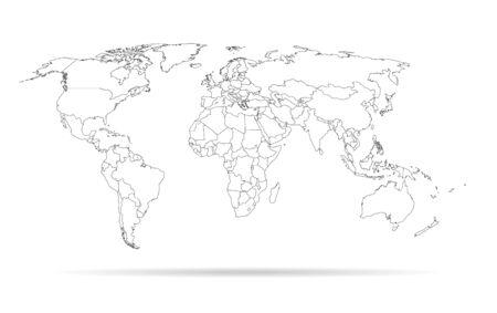 szkic zarys mapy świata wysokiej szczegółowe szablon z krajów na białym tle