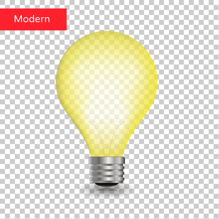 Creative light bulb isolated transparent vector realistic Ilustração