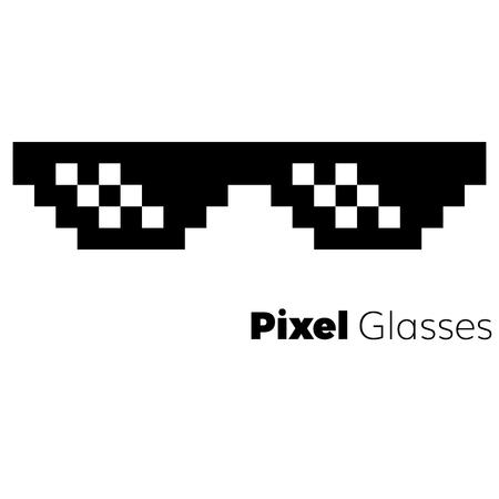 Pixel glasses  vector icon   eps 10 glasses