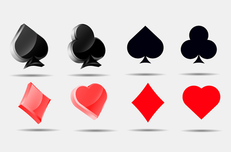 pokers: Playing card symbols set  Pokers collection ace 3d blank symbol icons vector.