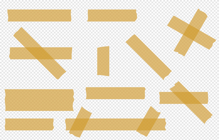 Adhesive tape transparent  pieces  vector tape set isolated.