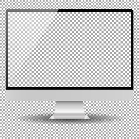 Blank monitor screen computer mockup checked transparent background vector isolated   realistic
