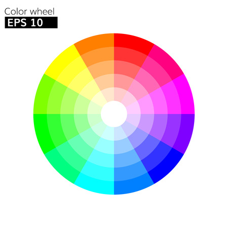 Color wheel 12 colors vector with 20 percent step color circle with harmony design.
