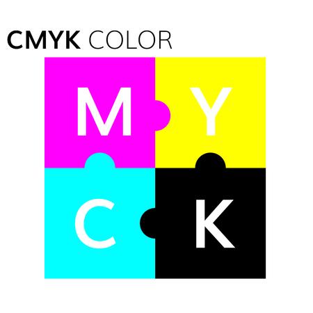 offset printer: CMYK color  scheme  puzzle illustration vector CMYK graphic mode