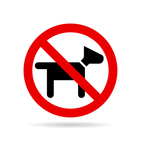 banned: no dogs icon vector  stop animals and  pets walking of dogs is forbidden Illustration