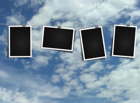 Photo frame on rope on sky background  blank photo template frame Illustration