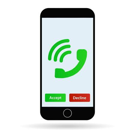 Mobiele telefoon gesprek vectorillustratie mobiel bellen Stock Illustratie