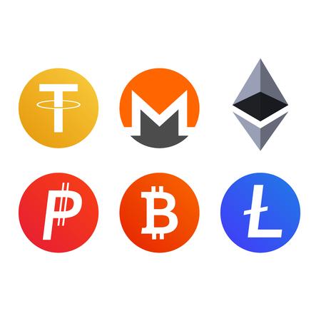 Set van cryptocurrency munten pictogrammen symbolen bitcoin monero Tether Litecoin Ethereum Stock Illustratie