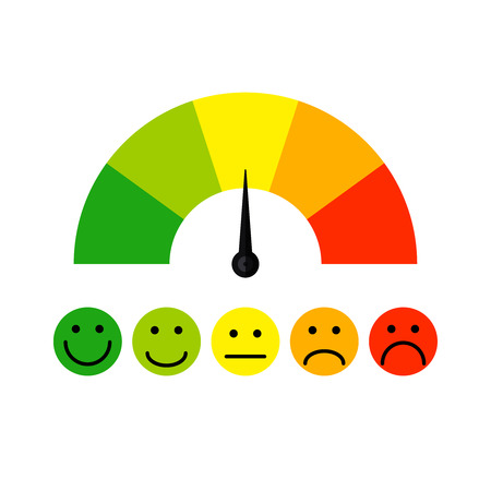 Customer satisfaction meter with different emotions Vector illustration