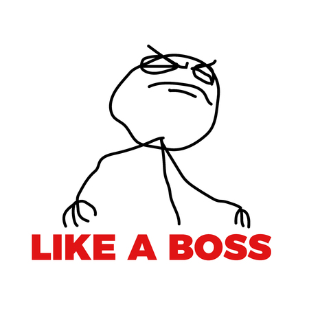 like a boss meme vector  illustration cool outline boy hand drawn