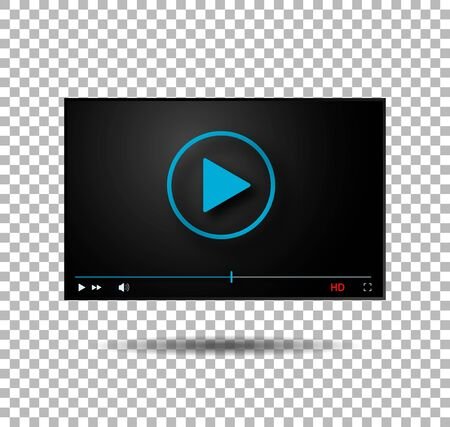 shiny buttons: Video player vector  play button modern player blue digital player vector illustration movie