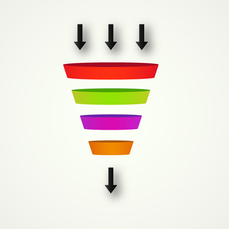 Marketing Funnel for conversion and sales  analysis data rate funnel  イラスト・ベクター素材