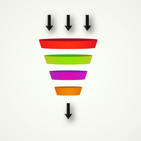 Imbuto di marketing per la canalizzazione della velocità dei dati dell'analisi delle vendite e delle conversioni