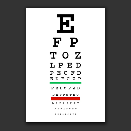 Optical vision test vector chart Poster for vision testing.