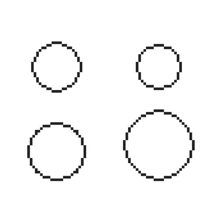 pixel circles set  pixel round template square circle