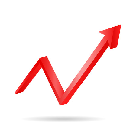 Red arrow graph directed upwards vector 3d