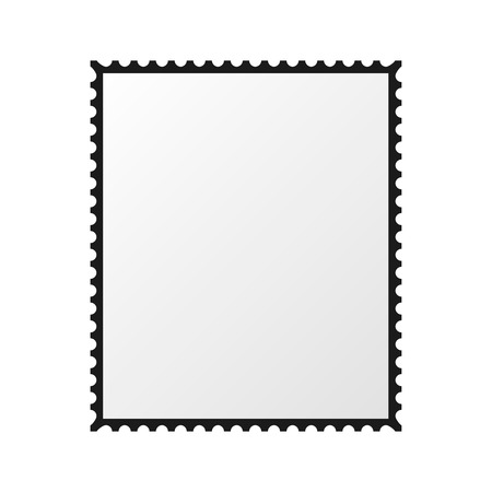 postage stamp vector  blank mockup  square  template post  border 向量圖像