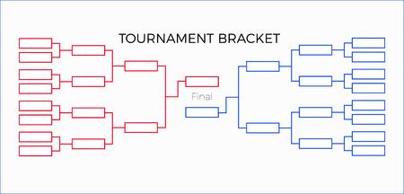 Torneo Bracket ilustración vectorial rojo y azul