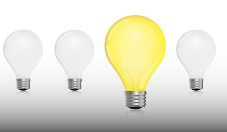 Glowing and turned off electric light bulb idea and insight concept lightbulbs.