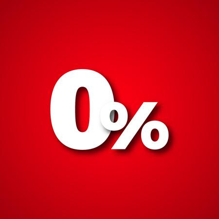 0 rode percenten nul procent vectorillustratie