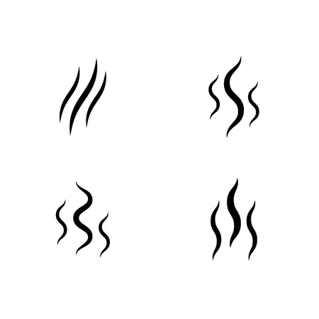 smoke stream vector aroma icon smell set  vapor lines