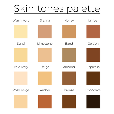 Skin tones color palette vector   skin color vector chart
