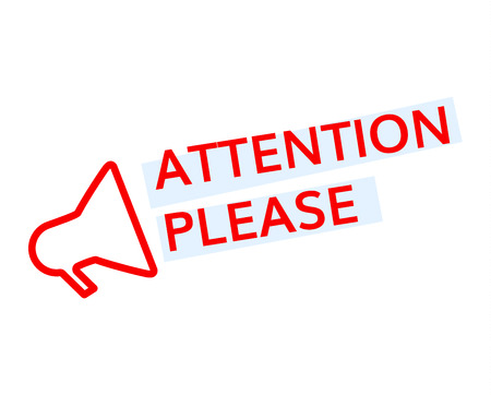 Attention please Badge with megaphone icon vector