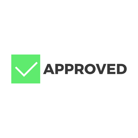 seal of approval: Approved stamp vector Flat style design button