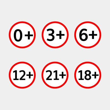 underage: age limit vector icons set  age limit symbols