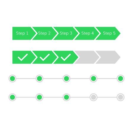 진행 단계 바 벡터 인터페이스 플랫 디자인 완료