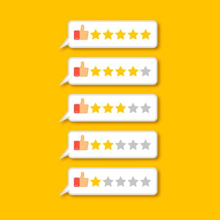 five stars: Feedback concept five stars rating poll bar. Illustration
