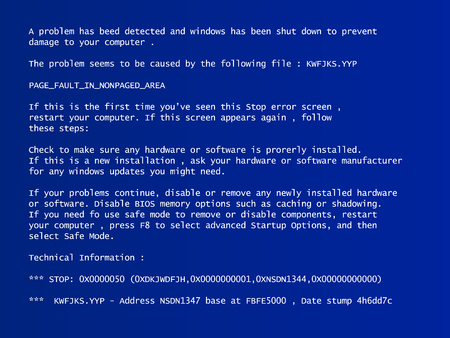 A blue screen of death vector computer window. Illustration
