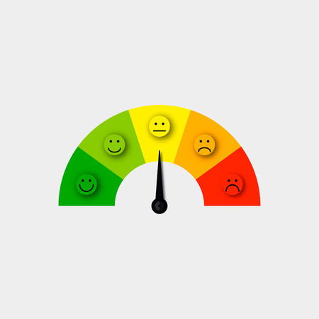 customer satisfaction meter vector  satisfaction feedback scale vector Vectores