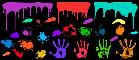 Grunge splash paint set  paint splatter ink splash vector