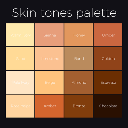 Skin tones palette vector skin color chart. Stock Vector - 87972490