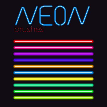 neon vector brush set  colored eps 10 neon stroke  イラスト・ベクター素材