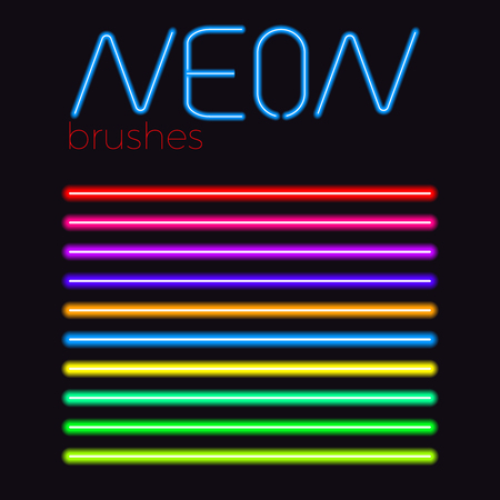 neon vector brush set  colored eps 10 neon stroke 일러스트