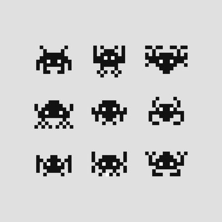 Space Invaders gra bitowa wektor zestaw robotów pikselowych.