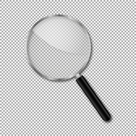 transparent magnify glass vector transparency magnifier realistic Illustration